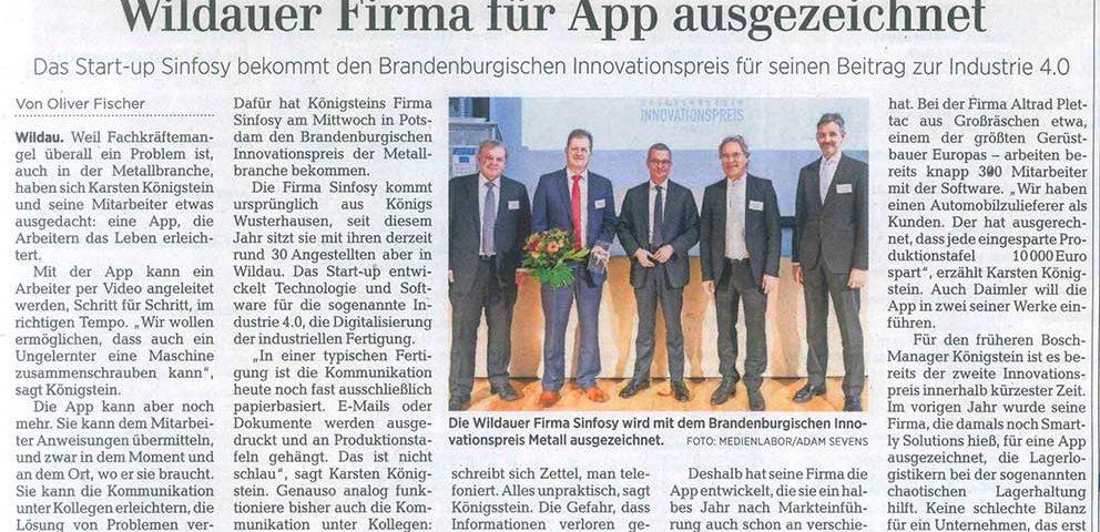 Sinfosy - Märkische Allgemeine Zeitung am 01. Dezember 2017